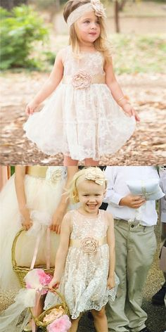 Cute A-Line Round Neck Ivory Lace Flower Girl Dresses with Handmade Flower And Bow, Boho Flower Girl, Lace Flower Girls, Lace Flowers, Cheap Flower Girl Dresses, Little Girl Dresses, Girls Dresses, Summer Dresses, Bridal Dresses, Bridesmaid Dresses