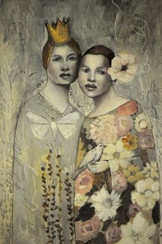 Original Painting by Misty Mawn - Sweet Sisters in the Garden /// This is so beautiful. The color palette is subtle and soft. Art Journal Inspiration, Painting Inspiration, Collages, Collage Art Mixed Media, Portraits, Colorful Paintings, Whimsical Art, Face Art, Statue