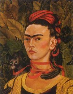 Self Portrait with Monkey by Kahlo Frida Fine Art Giclee Canvas Print