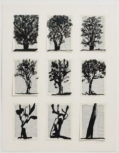 RA Summer Exhibition 2015 work 472 :NINE TREES (FROM UNIVERSAL ARCHIVE) by William Kentridge Hon RA, £.