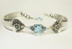 Spoon Bracelet, Silverware Jewelry, Aquamarine Swarovski Crystals, Sterling Silver Bali Bead Caps, Starlight 1950
