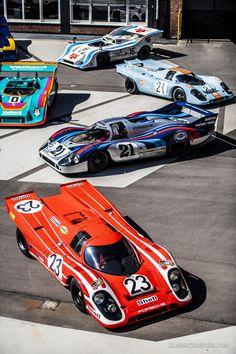 You'll never see another Porsche 917 reunion like this one Porsche Sports Car, Porsche Cars, Classic Sports Cars, Classic Cars, Porsche Classic, Porsche Motorsport, Vintage Porsche, Futuristic Cars, Vintage Race Car
