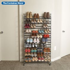 Serious shoe aficionados love our Chrome Metal 10-Tier Rolling Shoe Rack. Depending on the size and style of the footwear stored, it can hold up to 50 pairs of women's shoes without taking up much floor space, and it can easily be rolled into a closet or dressing room. Its large capacity can store any kind of footwear, from high heels and flats to athletic shoes, so you can store and view your entire shoe wardrobe quickly. Shoe Wardrobe, Small Space Organization, Container Store, Hold Ups, Floor Space, Shoe Storage, Dressing Room, Shoe Rack, Women's Shoes