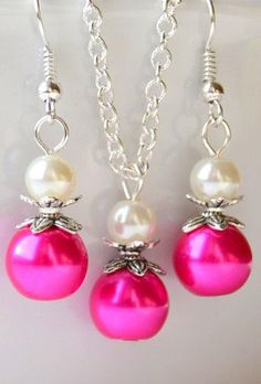 Hot pink and ivory jewelry set