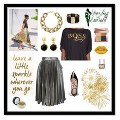 """""""Golden Sparkle"""" by dazzlingemeraldplussizes ❤ liked on Polyvore featuring Kate Spade, Kenneth Jay Lane, Amrita Singh, Brooks Brothers, Bobbi Brown Cosmetics, Lime Crime, Nails Inc. and vintage"""
