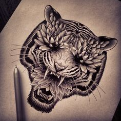 Have drawn a tiger for the first time. Sketch for Anastasia (not finished). (в Λ T E L I E R N O I R)