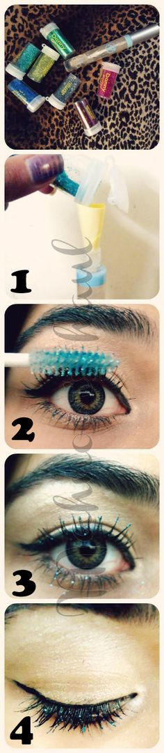 DIY :How to make your own glitter mascara!  Another easy way for glitter mascara:   1. Put on your usual mascara  2. Put some glitter on your finger (I used glitter i bought for my nails)  3. Press your finger against your still wet lashes and -tada- glittereffect! Remember to be quick!