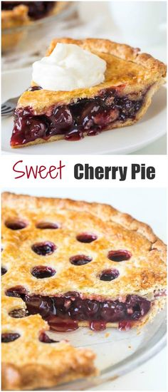 Sweet Cherry Pie ~Sweet & Savory This sweet cherry pie is always a winner! Thick and sweet cherry filling and buttery flaky crust make one irresistible bite! Plus, I shared 3 tips to avoid runny filling. Sweet Cherry Recipes, Sweet Cherry Pie, Cherry Desserts, Sweet Pie, Köstliche Desserts, Dessert Recipes, Cherry Pie Frozen Cherries, Filipino Desserts, Dessert Simple