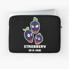 """""""Stroberry, In A Jam (White Text)"""" Laptop Sleeve by grumblebeeart   Redbubble Stealing strawberries in the middle of a robbery. Funny berry slogan gift. Food Illustrations, Laptop Case, Back To Black, Laptop Sleeves, Strawberries, Slogan, Chiffon Tops, Berry, Unique Gifts"""