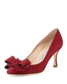 #Fall2014 -  #ManoloBlahnik Lisanewbo Suede Mid-Heel Bow Pump, Red <3 <3 <3
