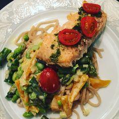 Laks pasta sundt fisk med grønt