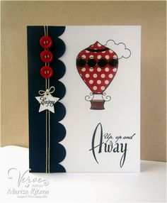 Handmade card by Marisa Ritzen using the Up Up & Away set from Verve.  #vervestamps