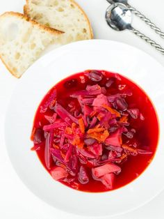 Russian Red Borscht. (Suggestion: Can add meat, mushrooms and/or sour cream.)