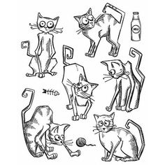 Stamper's Anonymous / Tim Holtz - Cling Mounted Rubber Stamp Set - Crazy Cats-Cling mounted rubber stamps - on a 7 x storage panel Boutique Scrapbooking, Scrapbooking Photo, Crazy Bird, Crazy Cats, Tim Holtz Stamps, Image Digital, Stampers Anonymous, Cat Cards, Copics