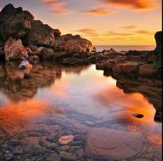 Sunset Greece Beach Boulders