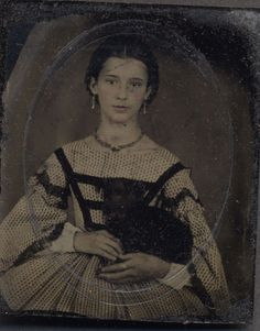 Potential for my eldest?  [Superb Sharp Cased 1860s Tintype Beautiful Woman Holds A Small Black Dog]