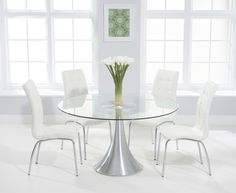 Buy The Paloma 135cm Round Glass Dining Table With Calgary Chairs At Oak