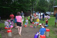 Traditional gift giving! All friends waiting on their toadstools for there turn to give their gifts.