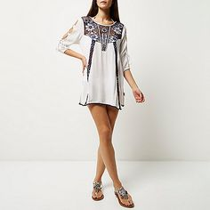 528d906cb4 River Island Cream embroidered cover-up ( 70) ❤ liked on Polyvore featuring  swimwear