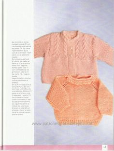ajuar de bebe en color salmon Knitting For Kids, Baby Knitting Patterns, Baby Pullover, Baby Sweaters, Crochet Baby, Men Sweater, Album, Clothes, Angeles