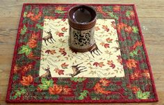 Quilted Deer Table Topper Fall Candle Mat Red by RedNeedleQuilts
