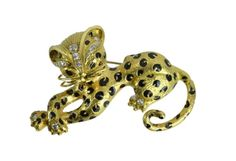 18K Yellow Gold & Diamond Leopard Brooch