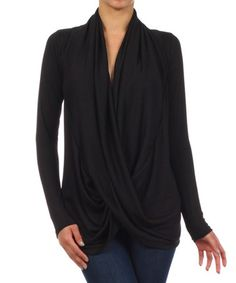 Look what I found on #zulily! Black Surplice Drape Top #zulilyfinds