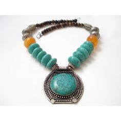 Tibetan Collectible Ethnic Necklace, Nepalese Genuine Turquoise... (€210) via Polyvore featuring jewelry, necklaces, beaded pendant necklace, blue turquoise necklace, turquoise jewelry, turquoise pendant and silver pendant necklace