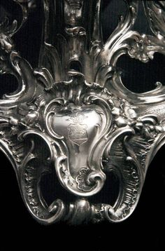 The Family Crest Engraved on the Base of Each of these Amazing Candelabra - EXQUISITE !! Silver Candelabra, Family Crest, Lion Sculpture, Base, Brooch, Statue, Amazing, Jewelry, Sculptures