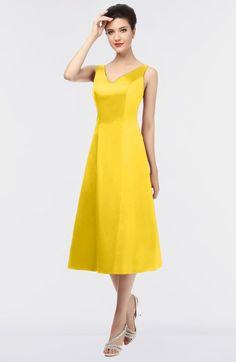 6f8e7d8e6d2fa Yellow Mature A-line V-neck Zip up Plainness Bridesmaid Dresses Yellow Bridesmaid  Dresses