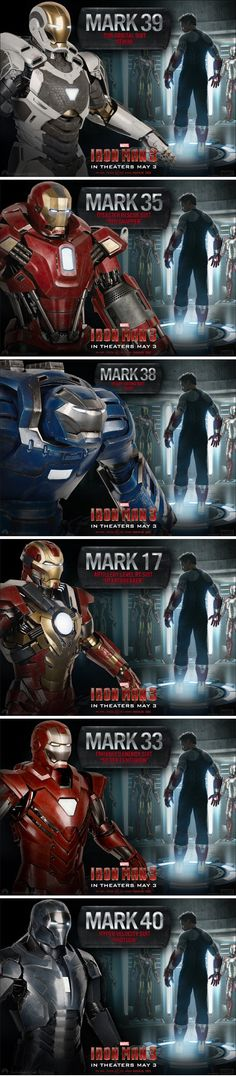 All suits from Iron Man 3