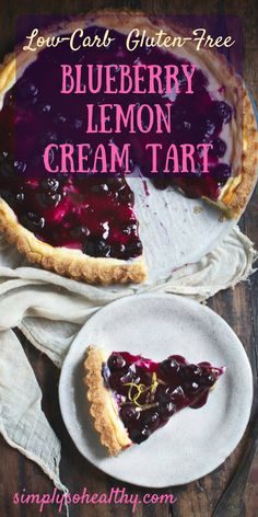 This Low-Carb Blueberry Lemon Cream Tart has a tender vanilla crust, a creamy lemon filling and a blueberry topping. This delicious tart works for people on low-carb, ketogenic, gluten-free, Atkins, diabetic, or Banting diets.