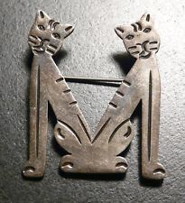 VINTAGE STERLING SILVER 2 CATS KITTY LETTER M BROCH PIN FROM MEXICO