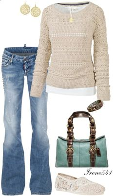 Crochet sweater/TOMS by irene541 on Polyvore