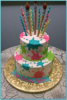 Paint Splatter Two Tiered Cake instead use rocky candy sticks for top decoration on a different splatter cake. Art Birthday Cake, Artist Birthday, Themed Birthday Cakes, Girl Birthday, Bolo Paintball, Paint Splatter Cake, Art Party Cakes, Bolo Mickey, Artist Cake