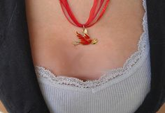 The Red Dove of True Love Necklace by TruleeDarling on Etsy, $12.00