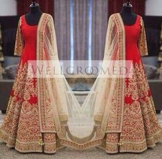 Designer Wear Gorgeous Bangalore Silk Heavy Bridal Anarkali Suit in Clothing & Accessories, Women's Clothing, Salwar Suits | eBay