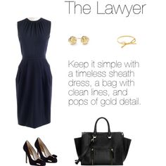 Keep it simple with a timeless sheath dress, a bag with clean lines and pops of gold detail.