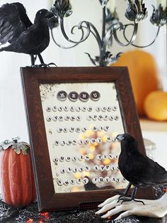 What a great way to display a menu... even if you don't do it Halloween style.  Fun!  What other uses could it have!