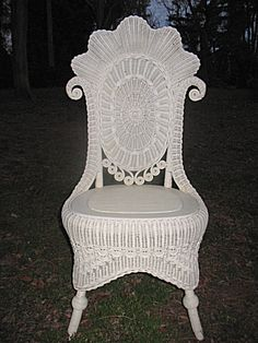 Fancy Antique Victorian Wicker Reception Chair Circa : Dovetail Antiques and Collectibles White Wicker Furniture, Old Wicker, Twig Furniture, White Painted Furniture, Cane Furniture, Wicker Chairs, Furniture Styles, Furniture Design, Do It Yourself Design