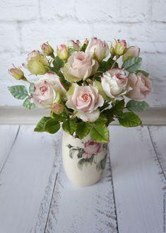 Цветы ручной работы. Заказать Букет розочек. Анастасия (cold-ceramic). Ярмарка Мастеров. Холодный фарфор, кустовые розы
