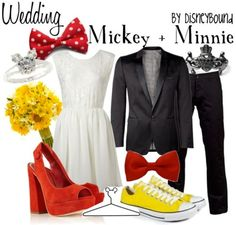 I've always loved being Minnie, wish Mickey liked his name more. this is super cute! wedding mickey and minnie Mickey And Minnie Wedding, Mickey Y Minnie, Wedding Disney, Minnie Mouse, Disney Weddings, Disney Dresses, Disney Outfits, Disney Clothes, Disneybound Outfits