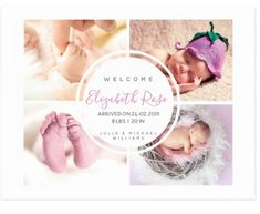 """Baby girl photo template custom birth announcement postcard Please email: requests@prettygreetings.co.uk for custom design inquiries and product requests. Orientation: Postcard Create your own vacation-worthy postcard! Any view you've seen, any monument you've fallen in love with, can all be added to your postcard with our personalization tool. Dimensions: 4.25"""" x 5.6""""; qualified USPS postcard size High quality, full-color, full-bleed printing on both sides Available in a semi-gloss or matte Baby Girl Birth Announcement, Birth Announcement Photos, Baby Girl Photos, Newborn Photos, Baby Girl Newborn, Postcard Size, Custom Design, Template, Printing"""