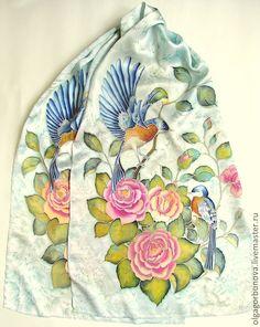 """Купить Батик шарф """"Птицы"""" - Батик, батик шарф, шелковый шарф, шёлк ручная роспись"""