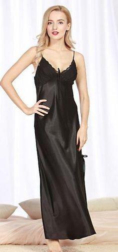 Long Ankle Length Women Summer Satin Nightgown 915b7bd60