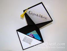 Graduation season is upon us and what better way to give a gift card than in a grad cap shaped card. I designed this card to give to my f...