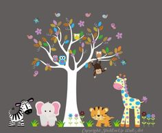 """Baby Nursery Wall Decals Safari Jungle Childrens Themed 82"""" X 105"""" (Inches) Animals Trees Wildlife: Repositionable Removable Reusable Wall Art: Better than vinyl wall decals: Superior Material Nursery Wall Decals http://www.amazon.com/dp/B00A0C6UUC/ref=cm_sw_r_pi_dp_xbZgub0WR6DVB"""