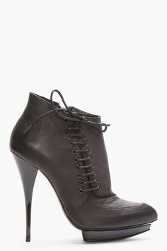 MCQ ALEXANDER MCQUEEN Black Leather Side-Lace Zip Ankle Boots