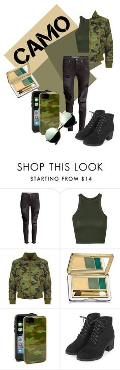 """""""Camo"""" by tessa-janson ❤ liked on Polyvore featuring Topshop, WearAll, Estée Lauder, Sonix, Revo and camostyle"""