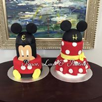 Mickey and Minnie first birthday cakes by Peace, Love & Pastries #nola #cakes #firstbirthday #mickeymouse #minniemouse